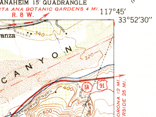 Reduced fragment of topographic map en--usgs--024k--033332--(1949)--N033-52-30_W117-52-30--N033-45-00_W117-45-00 in area of Peters Canyon Reservoir; towns and cities Anaheim, Orange, Tustin Foothills, Villa Park