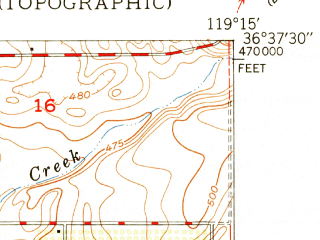 Reduced fragment of topographic map en--usgs--024k--033341--(1950)--N036-37-30_W119-22-30--N036-30-00_W119-15-00; towns and cities Orosi, Orange Cove, Cutler