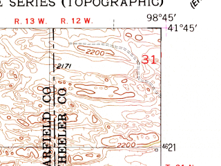 Reduced fragment of topographic map en--usgs--024k--033373--(1954)--N041-45-00_W098-52-30--N041-37-30_W098-45-00