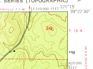 Reduced fragment of topographic map en--usgs--024k--033395--(1948)--N039-22-30_W121-22-30--N039-15-00_W121-15-00 in area of Collins Lake