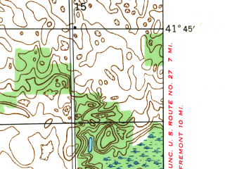 Reduced fragment of topographic map en--usgs--024k--033434--(1941)--N041-45-00_W085-15-00--N041-37-30_W085-07-30; towns and cities Orland