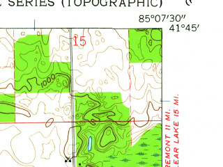 Reduced fragment of topographic map en--usgs--024k--033434--(1960)--N041-45-00_W085-15-00--N041-37-30_W085-07-30; towns and cities Orland