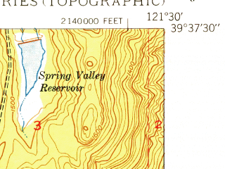 Reduced fragment of topographic map en--usgs--024k--033469--(1949)--N039-37-30_W121-37-30--N039-30-00_W121-30-00 in area of Thermalito Forebay; towns and cities Oroville