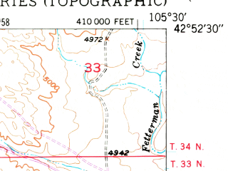 Reduced fragment of topographic map en--usgs--024k--033471--(1949)--N042-52-30_W105-37-30--N042-45-00_W105-30-00