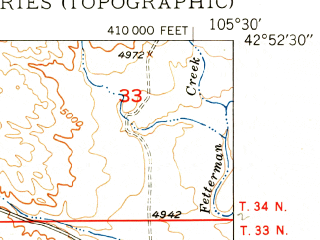 Reduced fragment of topographic map en--usgs--024k--033471--(1950)--N042-52-30_W105-37-30--N042-45-00_W105-30-00