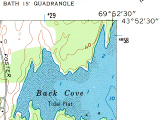 Reduced fragment of topographic map en--usgs--024k--033481--(1957)--N043-52-30_W070-00-00--N043-45-00_W069-52-30