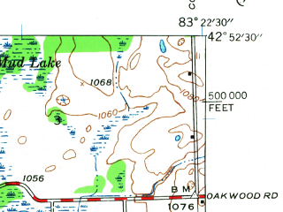 Reduced fragment of topographic map en--usgs--024k--033493--(1943)--N042-52-30_W083-30-00--N042-45-00_W083-22-30; towns and cities Ortonville