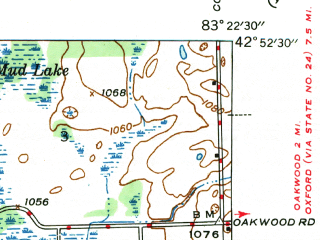 Reduced fragment of topographic map en--usgs--024k--033493--(1945)--N042-52-30_W083-30-00--N042-45-00_W083-22-30; towns and cities Ortonville
