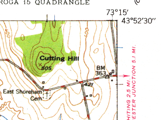 Reduced fragment of topographic map en--usgs--024k--033498--(1949)--N043-52-30_W073-22-30--N043-45-00_W073-15-00