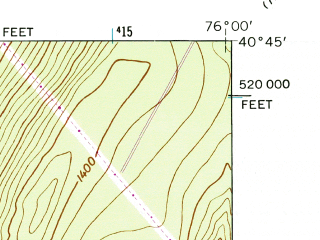 Reduced fragment of topographic map en--usgs--024k--033501--(1944)--N040-45-00_W076-07-30--N040-37-30_W076-00-00; towns and cities Landingville, Middleport, New Philadelphia
