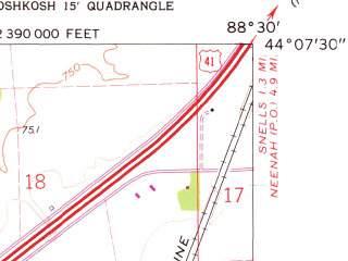 Reduced fragment of topographic map en--usgs--024k--033541--(1961)--N044-07-30_W088-37-30--N044-00-00_W088-30-00; towns and cities Oshkosh