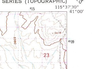 Reduced fragment of topographic map en--usgs--024k--033548--(1962)--N041-00-00_W115-45-00--N040-52-30_W115-37-30