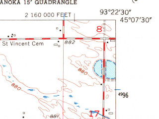 Reduced fragment of topographic map en--usgs--024k--033563--(1955)--N045-07-30_W093-30-00--N045-00-00_W093-22-30 in area of Eagle Lake; towns and cities Plymouth, Maple Grove, New Hope, Osseo