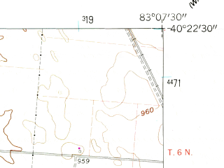 Reduced fragment of topographic map en--usgs--024k--033574--(1961)--N040-22-30_W083-15-00--N040-15-00_W083-07-30; towns and cities Ostrander