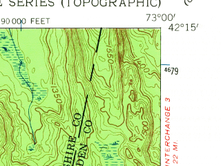 Reduced fragment of topographic map en--usgs--024k--033600--(1958)--N042-15-00_W073-07-30--N042-07-30_W073-00-00 in area of Otis Reservoir