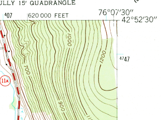 Reduced fragment of topographic map en--usgs--024k--033605--(1955)--N042-52-30_W076-15-00--N042-45-00_W076-07-30