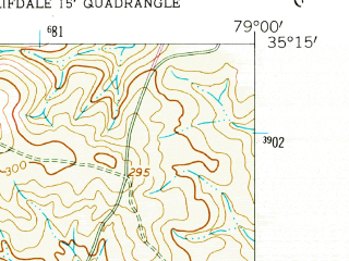 Reduced fragment of topographic map en--usgs--024k--033672--(1957)--N035-15-00_W079-07-30--N035-07-30_W079-00-00; towns and cities Fort Bragg, Pope Afb