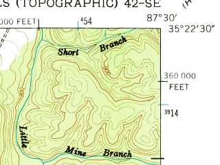 Reduced fragment of topographic map en--usgs--024k--033695--(1951)--N035-22-30_W087-37-30--N035-15-00_W087-30-00 in area of Laurel Hill Lake