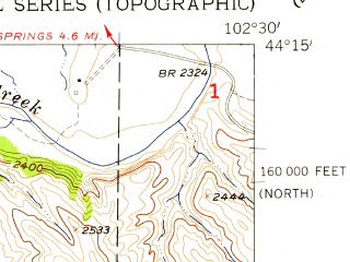 Reduced fragment of topographic map en--usgs--024k--033698--(1957)--N044-15-00_W102-37-30--N044-07-30_W102-30-00
