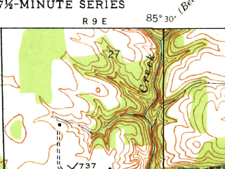 Reduced fragment of topographic map en--usgs--024k--033709--(1948)--N038-30-00_W085-37-30--N038-22-30_W085-30-00; towns and cities Goshen