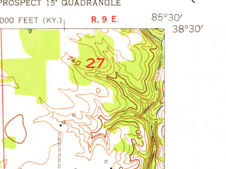 Reduced fragment of topographic map en--usgs--024k--033709--(1954)--N038-30-00_W085-37-30--N038-22-30_W085-30-00; towns and cities Goshen