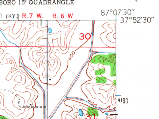 Reduced fragment of topographic map en--usgs--024k--033726--(1956)--N037-52-30_W087-15-00--N037-45-00_W087-07-30