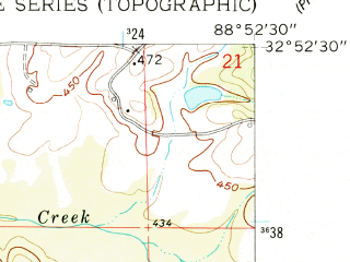Reduced fragment of topographic map en--usgs--024k--033739--(1962)--N032-52-30_W089-00-00--N032-45-00_W088-52-30; towns and cities Bogue Chitto