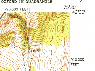 Reduced fragment of topographic map en--usgs--024k--033782--(1951)--N042-30-00_W075-37-30--N042-22-30_W075-30-00; towns and cities Oxford
