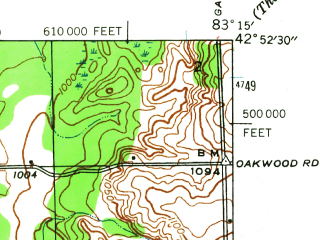 Reduced fragment of topographic map en--usgs--024k--033783--(1943)--N042-52-30_W083-22-30--N042-45-00_W083-15-00; towns and cities Oxford