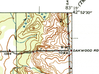 Reduced fragment of topographic map en--usgs--024k--033783--(1945)--N042-52-30_W083-22-30--N042-45-00_W083-15-00; towns and cities Oxford
