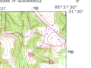 Reduced fragment of topographic map en--usgs--024k--033804--(1960)--N031-30-00_W085-45-00--N031-22-30_W085-37-30 in area of Lake Tholocco; towns and cities Ozark