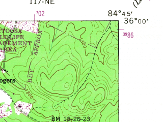 Reduced fragment of topographic map en--usgs--024k--033815--(1949)--N036-00-00_W084-52-30--N035-52-30_W084-45-00