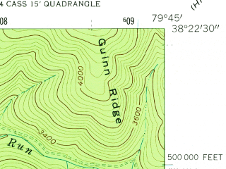 Reduced fragment of topographic map en--usgs--024k--033866--(1961)--N038-22-30_W079-52-30--N038-15-00_W079-45-00