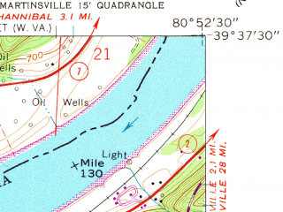 Reduced fragment of topographic map en--usgs--024k--033870--(1960)--N039-37-30_W081-00-00--N039-30-00_W080-52-30; towns and cities Paden City, Sistersville