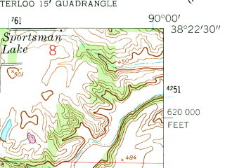 Reduced fragment of topographic map en--usgs--024k--033871--(1954)--N038-22-30_W090-07-30--N038-15-00_W090-00-00