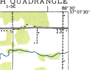 Reduced fragment of topographic map en--usgs--024k--033884--(1936)--N037-07-30_W088-37-30--N037-00-00_W088-30-00; towns and cities Oakdale, Reidland