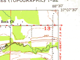 Reduced fragment of topographic map en--usgs--024k--033884--(1953)--N037-07-30_W088-37-30--N037-00-00_W088-30-00; towns and cities Oakdale, Reidland