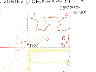 Reduced fragment of topographic map en--usgs--024k--033892--(1958)--N042-30-00_W098-30-00--N042-22-30_W098-22-30; towns and cities Page