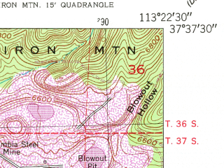 Reduced fragment of topographic map en--usgs--024k--033898--(1950)--N037-37-30_W113-30-00--N037-30-00_W113-22-30