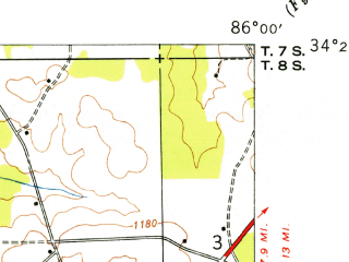 Reduced fragment of topographic map en--usgs--024k--033942--(1949)--N034-22-30_W086-07-30--N034-15-00_W086-00-00; towns and cities Geraldine