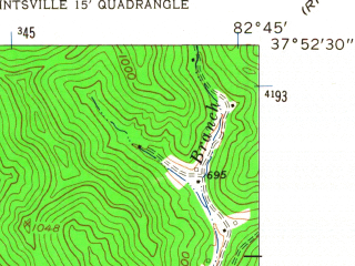 Reduced fragment of topographic map en--usgs--024k--033943--(1962)--N037-52-30_W082-52-30--N037-45-00_W082-45-00; towns and cities Paintsville, Van Lear