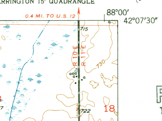 Reduced fragment of topographic map en--usgs--024k--033959--(1953)--N042-07-30_W088-07-30--N042-00-00_W088-00-00; towns and cities Schaumburg, Palatine, Rolling Meadows, Inverness