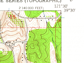 Reduced fragment of topographic map en--usgs--024k--033973--(1952)--N039-30-00_W121-37-30--N039-22-30_W121-30-00; towns and cities Palermo, South Oroville, Thermalito