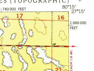 Reduced fragment of topographic map en--usgs--024k--033993--(1950)--N027-15-00_W080-22-30--N027-07-30_W080-15-00; towns and cities Stuart, North River Shores, Palm City