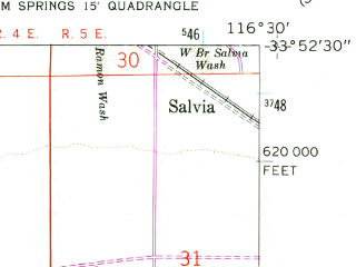 Reduced fragment of topographic map en--usgs--024k--033995--(1957)--N033-52-30_W116-37-30--N033-45-00_W116-30-00; towns and cities Palm Springs