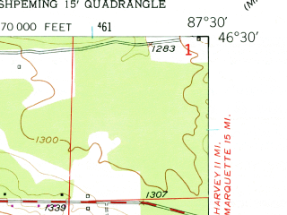 Reduced fragment of topographic map en--usgs--024k--033999--(1952)--N046-30-00_W087-37-30--N046-22-30_W087-30-00; towns and cities Negaunee