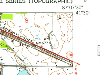 Reduced fragment of topographic map en--usgs--024k--034002--(1953)--N041-30-00_W087-15-00--N041-22-30_W087-07-30; towns and cities Lakes Of The Four Seasons