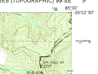 Reduced fragment of topographic map en--usgs--024k--034003--(1947)--N035-22-30_W085-37-30--N035-15-00_W085-30-00; towns and cities Palmer