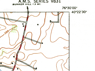Reduced fragment of topographic map en--usgs--024k--034024--(1947)--N040-22-30_W076-37-30--N040-15-00_W076-30-00; towns and cities Palmyra, Campbelltown, Annville