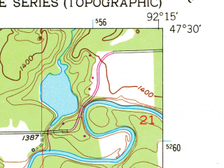 Reduced fragment of topographic map en--usgs--024k--034030--(1951)--N047-30-00_W092-22-30--N047-22-30_W092-15-00